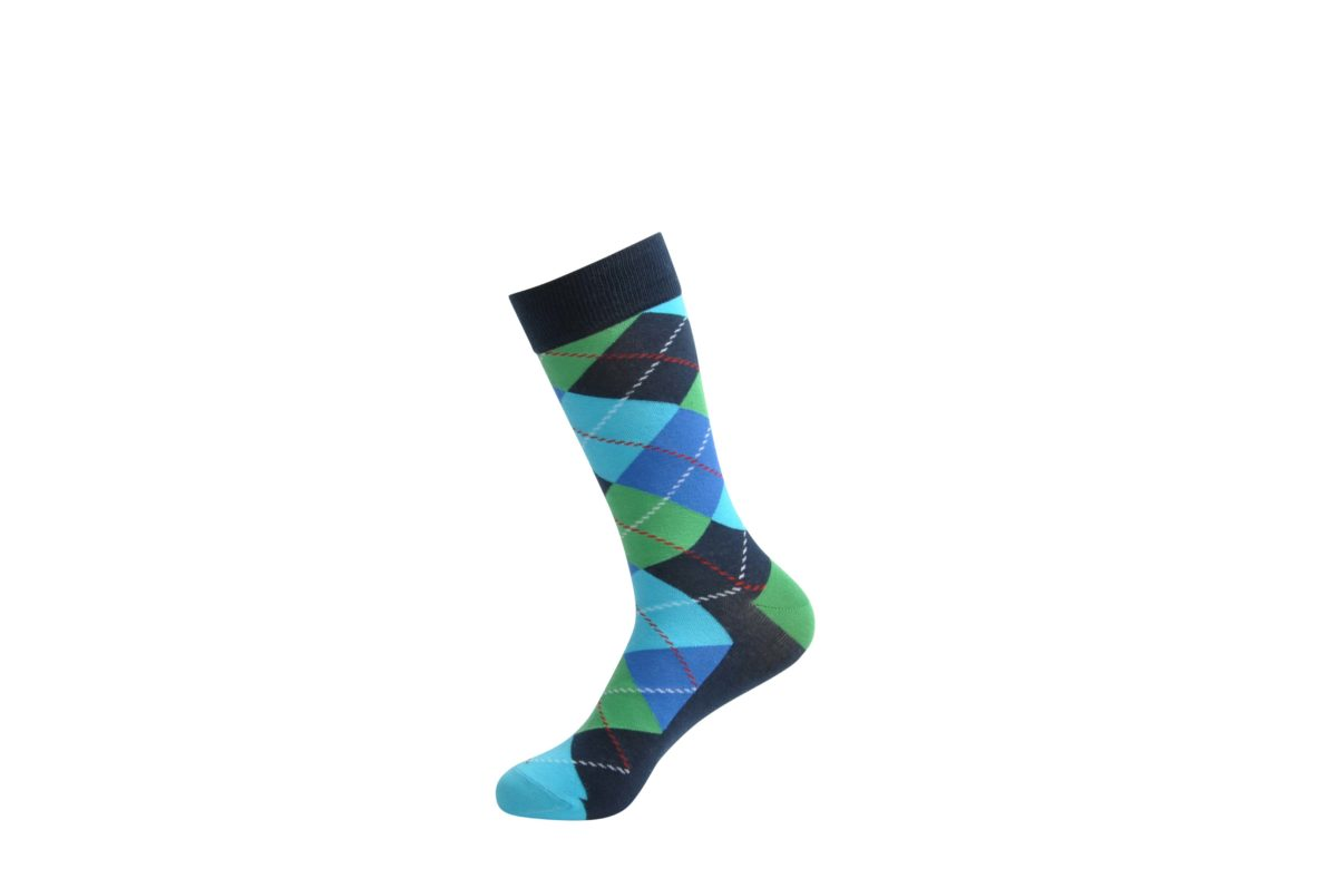 colourful argyle pattern dress socks men