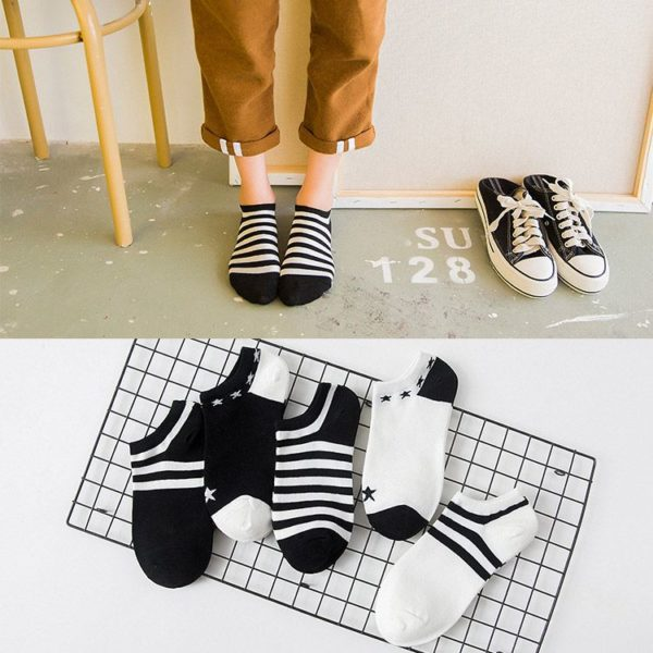 black & white ankle socks women