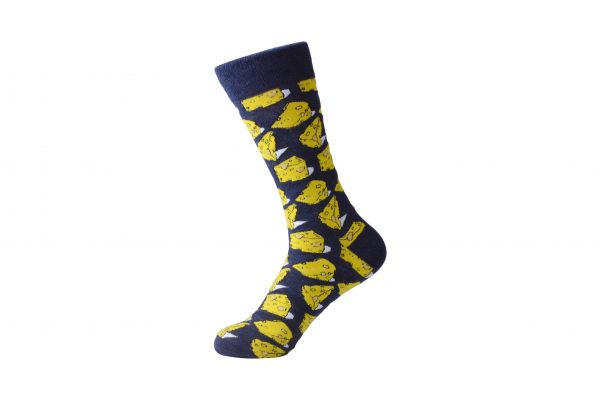 cheese print socks